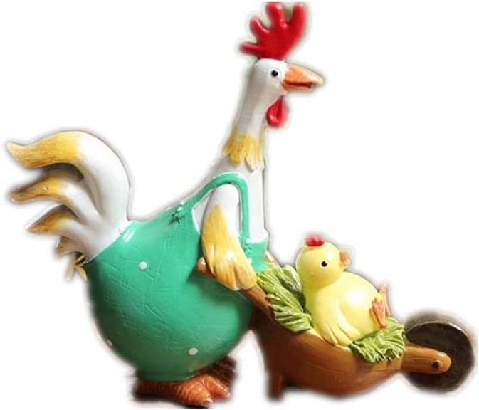 All items free shipping YQLKD Tabletop Décor Cute Cart Animal 55% OFF Figurin Sculptures Chicken