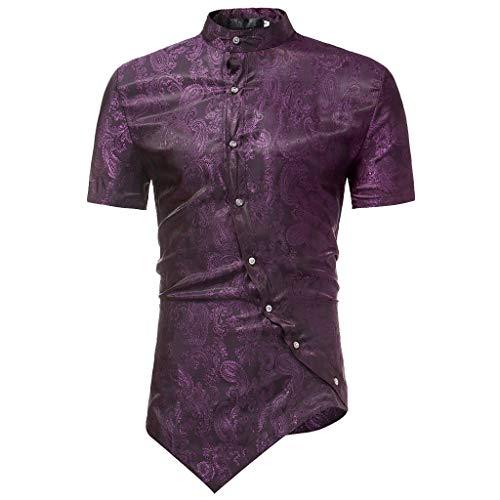 BURFLY Männer T-Shirt, Top, Shirt BURFLY Männer T-Shirt, Ethnische Stil Afrikanischer Kurzarm Stehkragen Lässige Graphic Top T-Shirt, Unregelmäßige Mode Streetwear