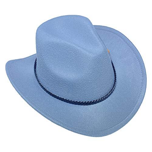 COMVIP Sombrero de vaquero de fieltro de ala ancha para mujer y hombre, estilo salvaje occidental, sheriff, rancher, jazz, fedora, panam, trilby