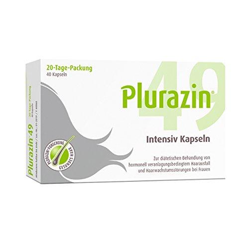 Plurazin 49 Intensiv Kapseln I Bei Haarausfall & Haarwachstumsstörungen in den Wechseljahren, Menopause I Haar Nährstoffe + Vitamine + Mineralien I Arginin, Leinsamen-Extrakt & Koffein - 40 Stück