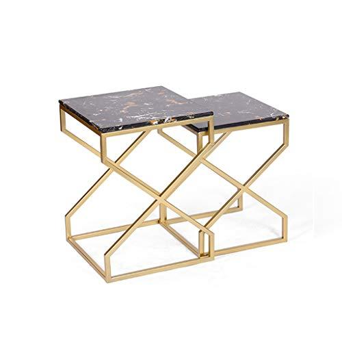 AJZXHE Table basse en fer forgé marbre salon chambre canapé table d'appoint table de chevet or créatif Bureau simple (Couleur : A)