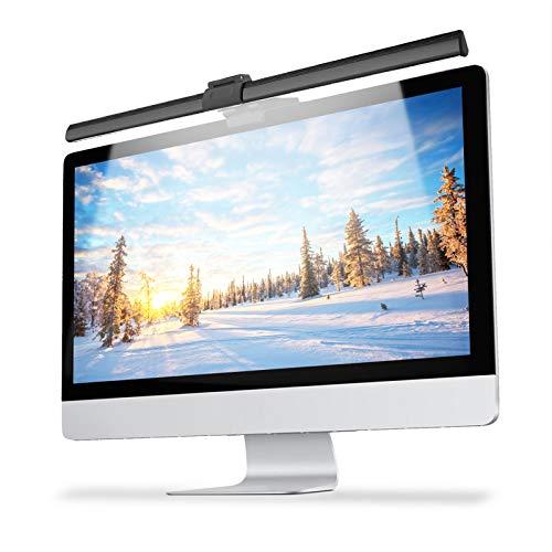 YISUN LED Screen Schreibtischlampen, Computer Monitor Licht E-Reading LED Aufgabe Lampe, USB aufladen, Einstellbar Helligkeit und Farb, Augenpflege (Matt-schwarz) [Energieklasse A+++]