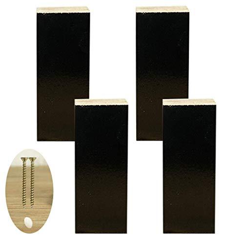4X Möbel Beine, Holz Sofa Beine, Geeignet Für Bett Sofa Schrank Möbel, Schwarz, Inklusive Schrauben (12Cm)