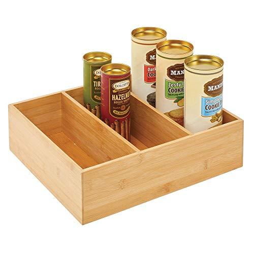 mDesign Teebox – elegante Aufbewahrungsbox mit 3 Fächern aus Bambus – praktische Holzkiste für Teebeutel, Teeei, Gewürze und Co. – naturfarben