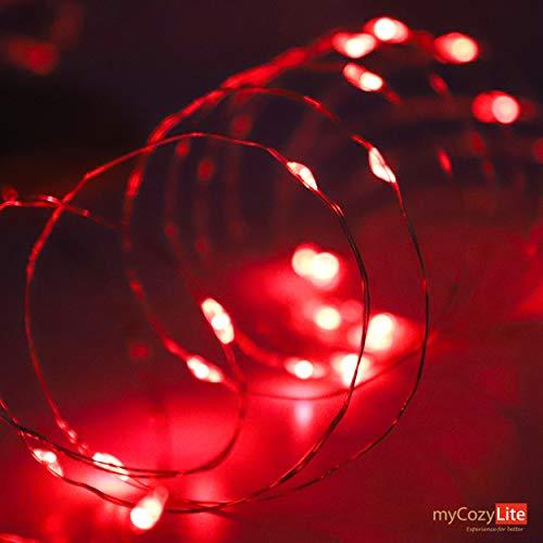 Kupferdraht LED Lichterkette, 50er Rot Micro LED Licht, Batteriebetrieben, mit Mehreren Modi, für Innen und Außen
