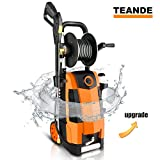 TEANDE 3800PSI Electric Pressure Washer, MAX 2.8GPM Electric Power Washer 1800W High Pressure Washer with Hose Reel MR3800 (Orange)