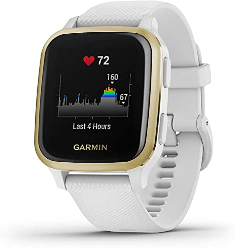 Garmin Venu Sq GPS Smartwatch with All-day Health Monitoring and Fitness Features, Built-in Sports Apps and More, White with Light Gold Bezel