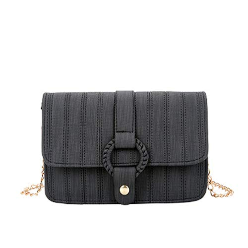 New Flap PU Leather Small Chain Handbag Ladies Shoulder Bag Women Satchel Shopping Purse Crossbody Bags,C Black,Small Size