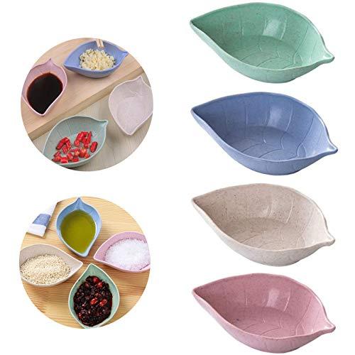 Cuencos de Salsa de Paja de Trigo Paja de Trigo en Forma de Hoja Tazón de Especias Tazones de Salsa de Soja Plato para Salsa Tazones para Especias Tazón para Salsa Cuenco de Especias (8 piezas)