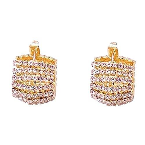 #N/D Pendientes de Viento frío de Moda para Mujer S925 Pendientes de Aguja de Plata Decoraciones Pendientes de Diamantes completos Pendientes