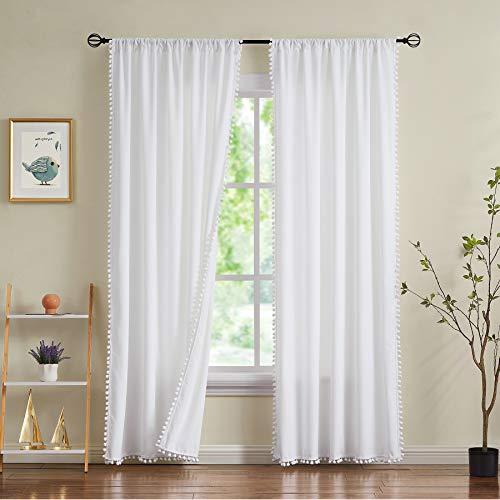 Treatmentex White Velvet Curtains for Bedroom Pompom Window Curtain Panels for Kids Girls Room Décor 95inches Length Luxury Soft Room Darkening Drapes for Nursery Room, Rod Pocket, 2pcs