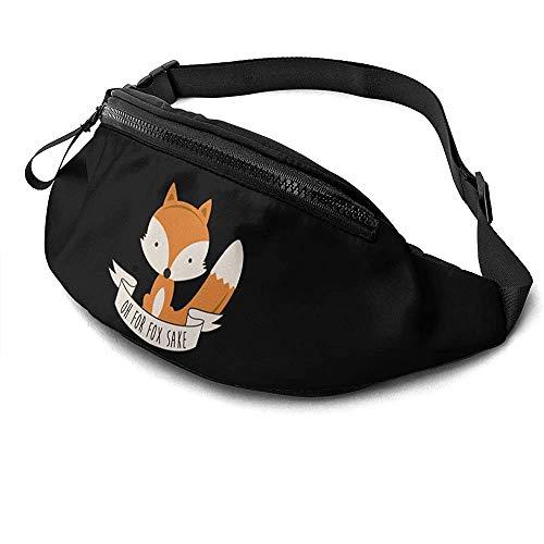 Jrey.T Oh Fox Sake Runner's Riñonera Paquete De Cintura Correas Ajustables Bolsillo con Conector para Auriculares para Unisex