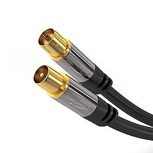 KabelDirekt PRO Series - Cable Coaxial Antena Clase A, Soporta DVB-T, DVB-S, DVB-C, DVB-S2 y HDTV, para TV y radio), 1.5 m
