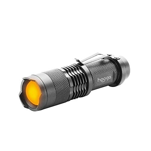 LED Flashlight, Blue Light Blocking, Amber Flashlight by Hooga. 1600K Warm Light for Eye Care, Sleep Aid. AA Battery Included. Adjustable Brightness. Great for Hunting, Camping, Aviation. Single