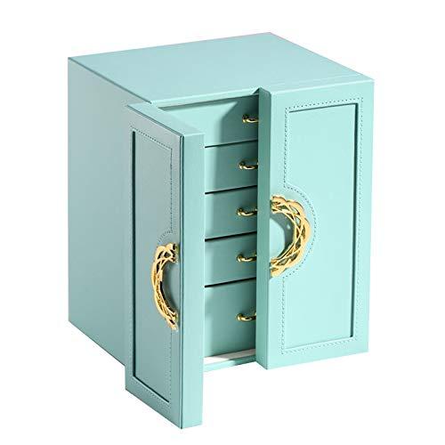 GYMEIJYG Watch Box Uhren, Pu Große Kapazität Wasserdichter Stoff Fünf Schichten Doppeltüren Zur Aufbewahrung Von Uhren 2 Farben (Color : Blue, Size : 24.3X20X18.3cm)
