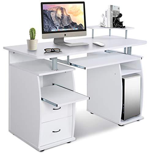 GOPLUS Computertisch, Schreibtisch Farbwahl, Bürotisch mit Tastaturauszug, Arbeitstisch, PC-Tisch mit Schubladen, 120x55x85cm (Weiß)