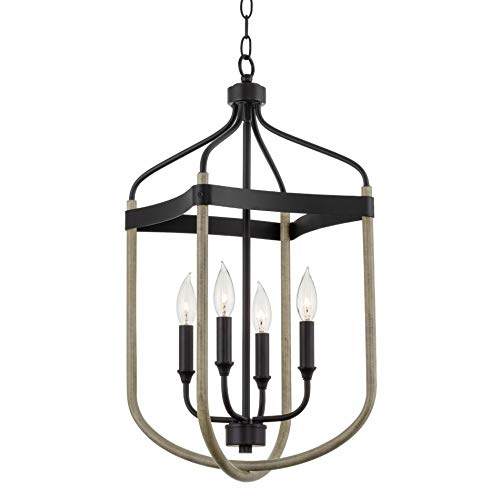 "Kira Home Austen 25.5"" 4-Light Modern Farmhouse Lantern Pendant Light, Adjustable Foyer Chandelier, Smoked Birch Wood Style + Black Finish"