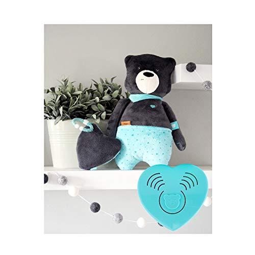 Szumisie Max White Noise Spielzeug mit Cry Sensor & Non-Stop-System, ab Geburt geeignet, mit kostenlosen Beißring und Plüsch Tasche, 36cm hoch