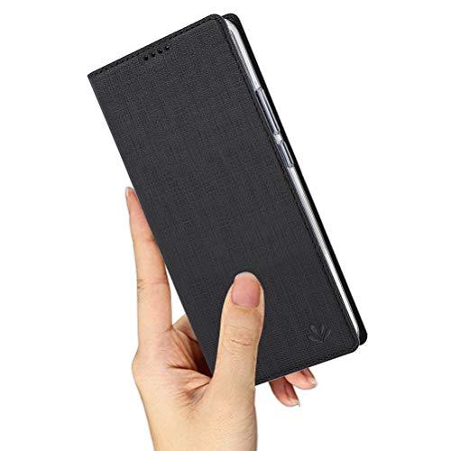 Yoodi Capa para Motorola One Vision, capa flip ultrafina de couro premium com suporte para cartão e compartimento magnético fechado – preta