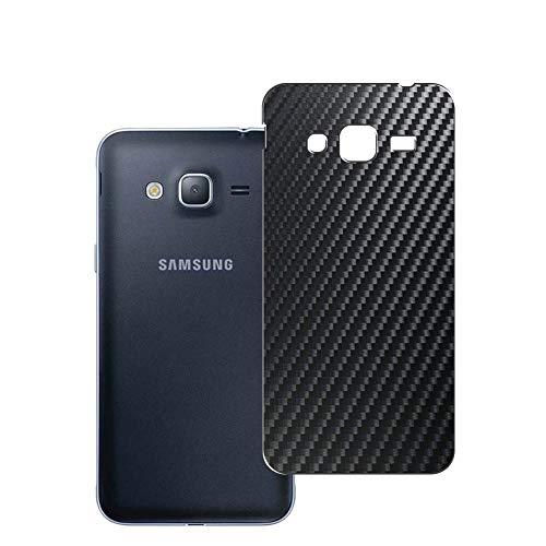 Vaxson 2 Unidades Protector de pantalla Posterior, compatible con Samsung Galaxy J3 2016, Película Protectora Espalda Skin Cover - Fibra de Carbono Negro