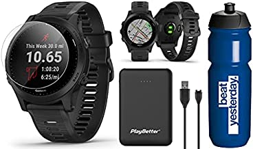 Garmin Forerunner 945 (Black) Runner's Bundle | +Garmin Premium Water Bottle, HD Screen Protectors (x4) & PlayBetter Portable Charger | Spotify/Music, Advanced Analytics, Maps | GPS Running Watch