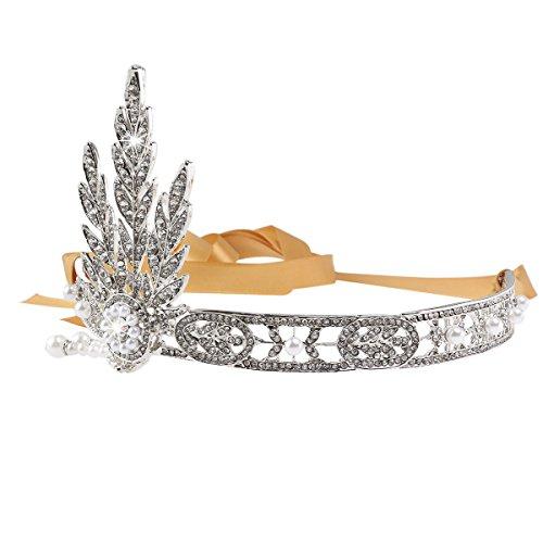 Pixnor Luxuoso Bling 1920 Flapper Great Gatsby Tiara Coroa de pérola Cabeça de noiva