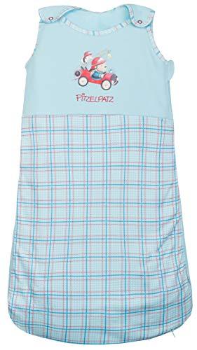 Baby Schlafsack Pitzelpatz für Jungen Baumwolle von ca. 0-6 Monate - Ganzjahres Schlafsack kariert - Farbe: Hellblau - Größe: 70 von Steinbeck