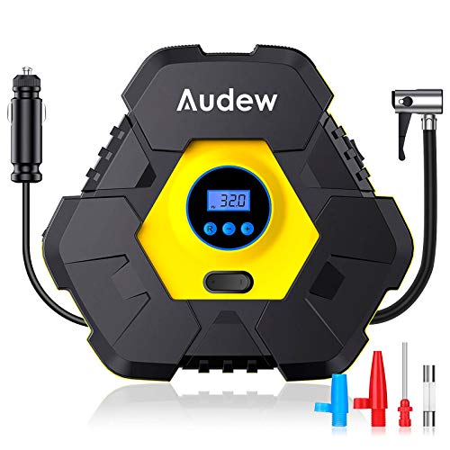 Audew Upgraded Portable Air Compressor Tire Inflator,12V 150PSI Air Pump with Auto Shut Off,Warning...