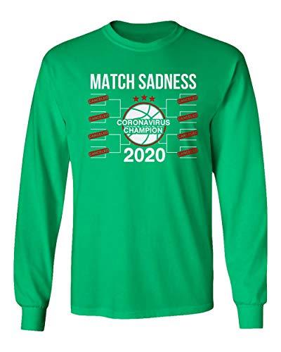 SMARTZONE Basketball Coronavirus Champ March Sadness 2020 Madness Men's Long Sleeve T-Shirt (Green, XXXX-Large)
