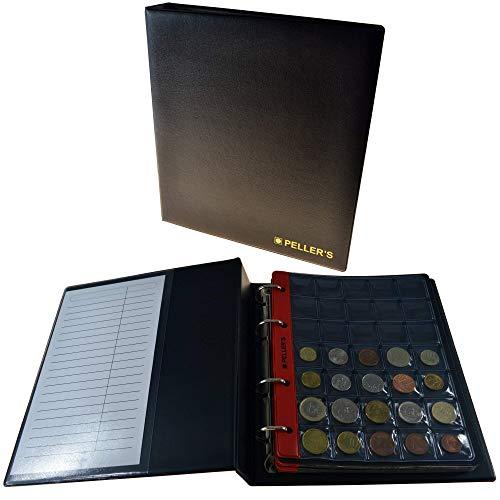 PELLER'S Album pour 275 Monnaies. Classeur M. 5+5 Feuilles, 175 Pochettes 27mm x 27mm, 100 Pochettes 35mm x 40mm. Idéal pour Monnaies jusqu'à 31 mm de diamètre. (Modèle M)