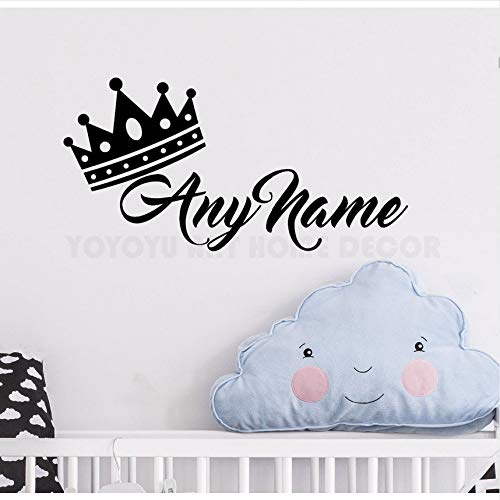 Cczxfcc Personalisierte Namen Prinzessin Crown Wandaufkleber Customade Prinz Name Schlafzimmer Wandtattoo Kunst Kinderzimmer Wand Dekor Wandbild 57 X 28 Cm