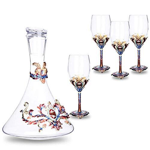 1,5L Carafe à Décanter le Vin en Cristal Carafe à Vin Rouge Avec 4 Verres à Vin Rouge (350 Ml) - 100% Verre Sans Plomb Soufflé à La Main, Bouteille de Whisky, Cadeaux de Vin, Accessoires de Vin
