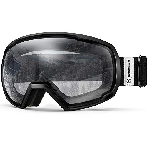 OutdoorMaster OTG Ski Goggles - Over Glasses Ski/Snowboard Goggles for Men, Women & Youth - 100% UV Protection (Black Frame + VLT 98.9% Clear Lens)
