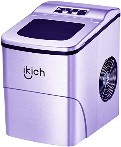 IKICH Eiswürfelmaschine 12 kg, 2 Eiswürfel-Größen, 6-8 Minuten Produktionszeit, Eiswürfelbereiter, 2L/150W/ Ice maker ohne Wasseranschluss, mit Eisschaufel