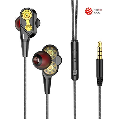 iAmotus Auricolari In-Ear Doppi Dinamici Driver Headset Suono Stereo Cuffia con Riduzione del Rumore e 3.5mm Cuffie Cablate con Microfono per iPhone, Smartphone Android e Lettore MP3-Nero Oro Disegno