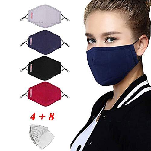 LILIfoodshop4 mascarillas faciales reutilizables de varios colores+8 filtros de carbono