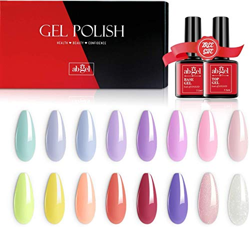 AB Gel Juego de esmaltes de uñas de 18 piezas, 16 colores Soak Off UV LED Colección de gel de uñas con base y capa superior Manicure Nail Art Salon