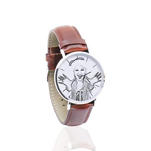 Reloj Personalizado con Foto Reloj Personalizado con Puntero de Cuero Suave Reloj para Hombres Reloj para Damas(Bosquejo marrón Hombres-26cm)
