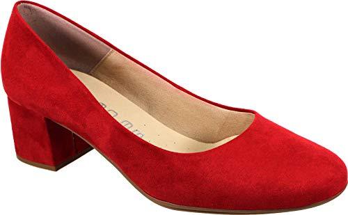 WUAPAS 1670 - Zapato Mujer Salón Tacón Ancho 5cm (40 EU, Rojo)