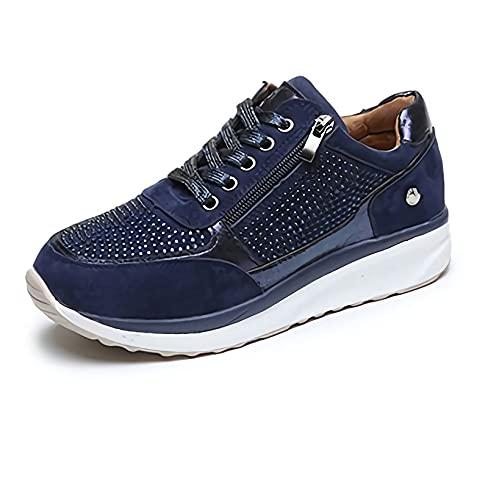 MIAOFA Zapatos Planos Casuales para Mujer Mocasines con Suela Suave de Punta Redonda y Cremallera Lateral Zapatillas para Correr Ligeras con amortiguación cómoda y Transpirable,1,39