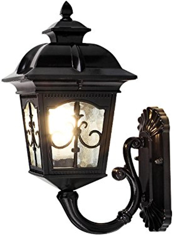 Wasserdichte Wandleuchten im Freien, europische Dorf LED Aluminium dekorative Hngelampe Wandlampen Retro kreative Garten Balkon Schlafzimmer Glas Wandleuchte (Design   A)