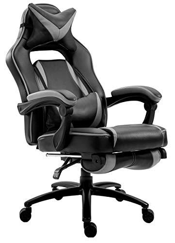 Delman XXL Gaming Stuhl Racing Stuhl Schreibtischstuhl Gaming Chair Drehstuhl Höhenverstellbar mit Fußstütze Fußablage mit Armlehnen Chefsessel Große Sitzfläche Dicke Polsterung 11 cm RS0019GY