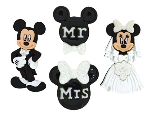 Jesse James Dress It Up Oficial Adornos Mickey y Minnie Boda, acrílico, Multicolor