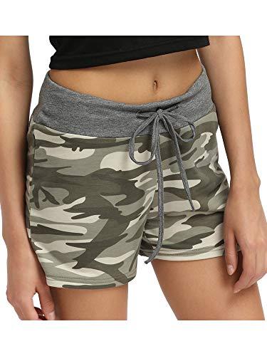 Sexy Dance Pantalones cortos de pijama para mujer, pantalones cortos de yoga, suaves, para dormir, ropa de dormir, ropa de casa, gimnasio, correr, con cordón, camuflaje, talla M