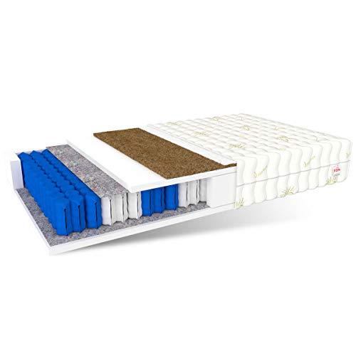 FDM Matratze EUROPA 90x200 hochwertige 7-Zonen Taschenfederkernmatratze Härtegrad H4/H3 kokos polyurethanschaum polyester  18 cm hohe
