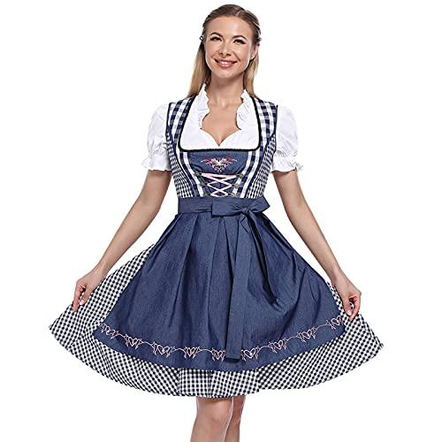 Shujin Damen Trachtenkleid 3tlg. Dirndl mit Spitzenschürze Midi Dirndlkleid Trachtenmoden für Bierfest Trachtenkarneval Bayerisches...