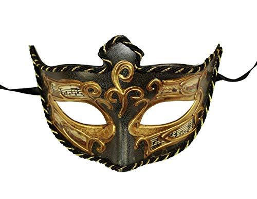 HAAC venezianische Augenmaske Maske schwarz Gold Halloween Fasching Karneval