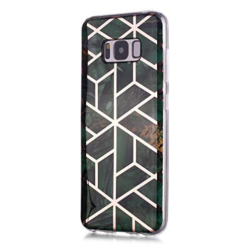 Fatcatparadise für Samsung Galaxy S8 Hülle + Displayschutz, Galvanisiert Marmor Weich Silikon Handyhülle Schlank Flexible TPU Bumper Handytasche Gummi Dünn Abdeckung Schutzhülle (Grün)