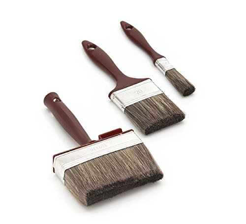 3-Teiliges Profi Holzschutz Lasuren Pinsel Set, Malerset ideal zur Verarbeitung von HABiol Holzöl und HAresil Holzschutz