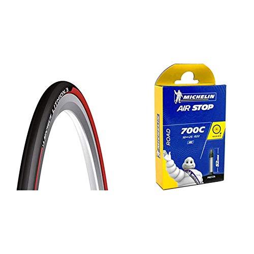 Michelin 0123l3r, lithion 3 Unisex Adulto, Nero/Rosso, 23-622 (28´´) 700×23C & Camera d'Aria 700 X18-25, 52 mm